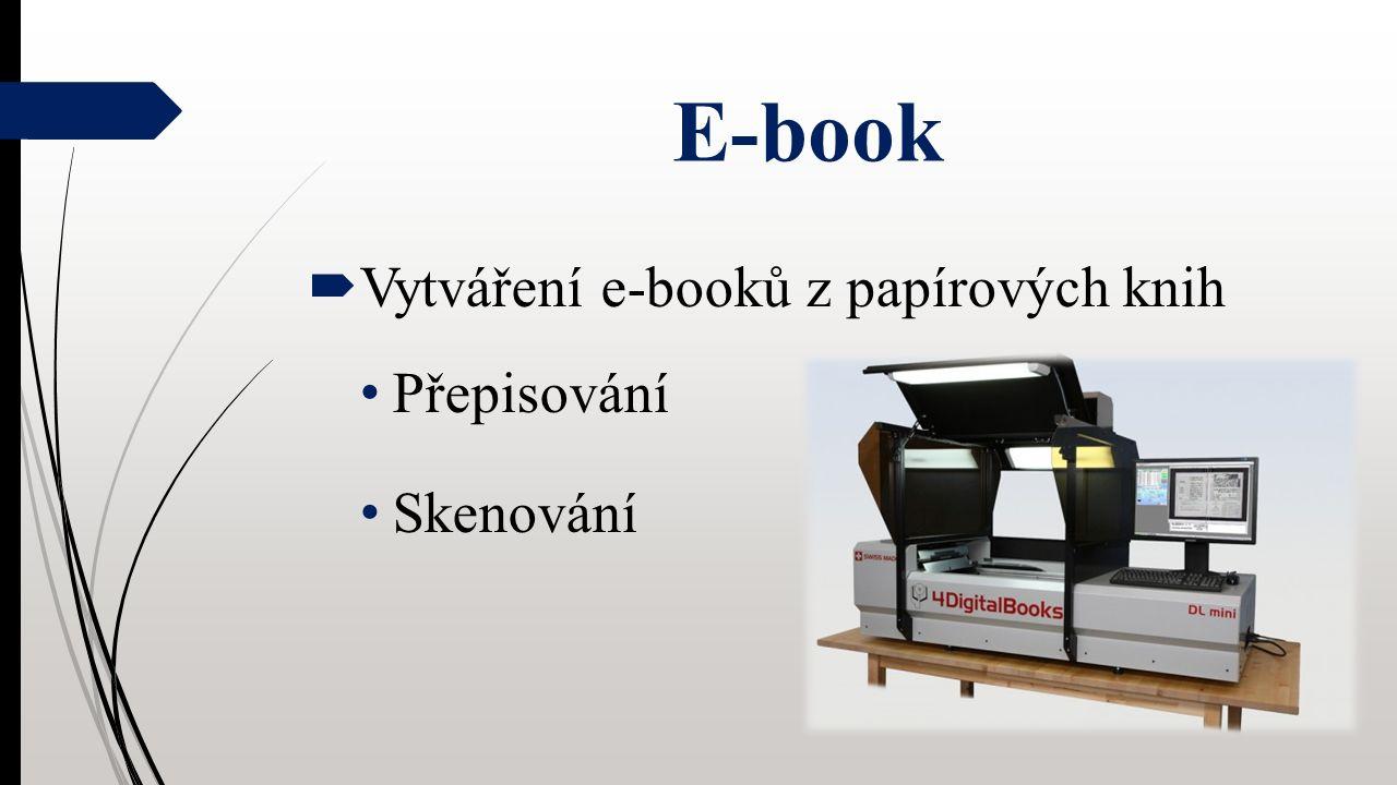 E-book  Vytváření e-booků z papírových knih Přepisování Skenování
