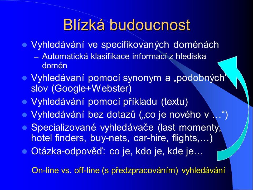 Specializované vyhledávací stroje nad sémantickým webem Informace typu A Informace typu B Veškerá informace typu B