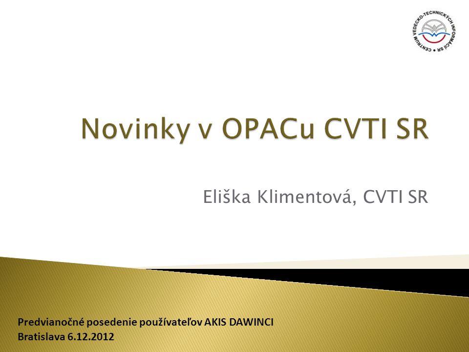 - Trvale nakoupené e-knihy a e-časopisy - Zařazené do jednoho fondu - Zobrazení z výsledků vyhledávání nebo z detailu záznamu - Přístup k e-dokumentům i z domu přes vzdálený přístup (EZ Proxy) - Uživatel se musí přihlásit jen 1x Upravené linky se vkládají do pole 856$u a texty do pole 856$y (zobrazení textů se po přihlášení mění) Bratislava 6.12.2012