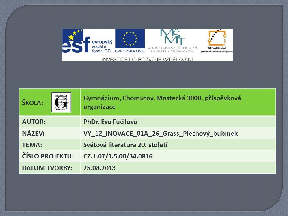 ŠKOLA: Gymnázium, Chomutov, Mostecká 3000, příspěvková organizace AUTOR:PhDr.