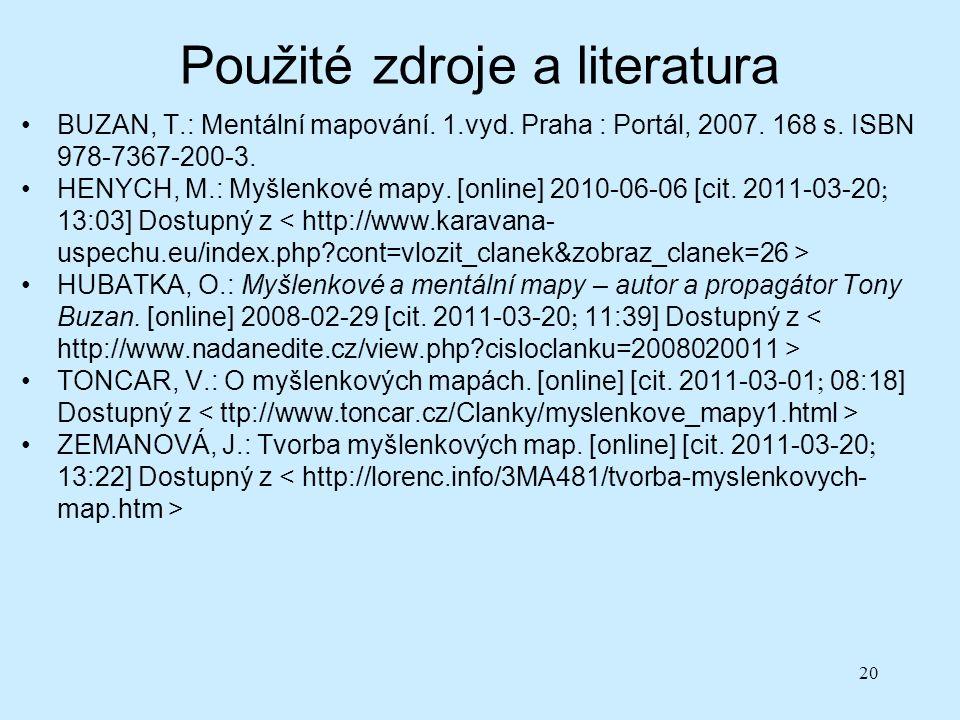 Použité zdroje a literatura BUZAN, T.: Mentální mapování.