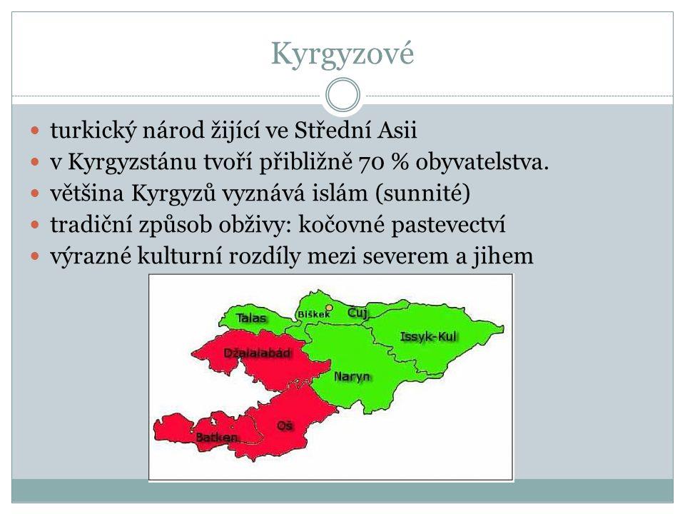 Kyrgyzové turkický národ žijící ve Střední Asii v Kyrgyzstánu tvoří přibližně 70 % obyvatelstva.