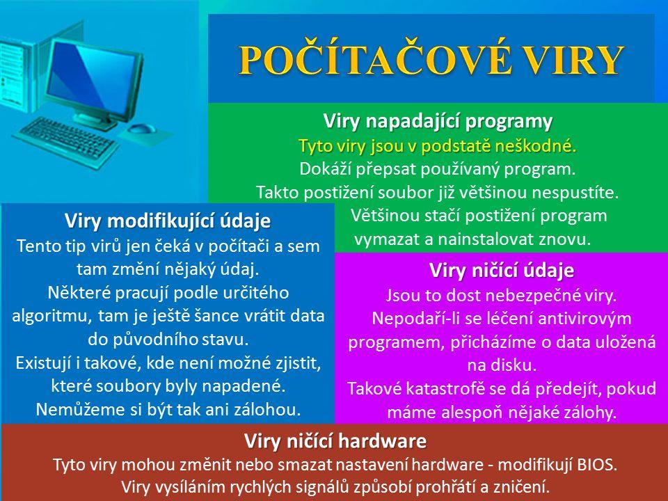 Viry napadající programy Tyto viry jsou v podstatě neškodné.