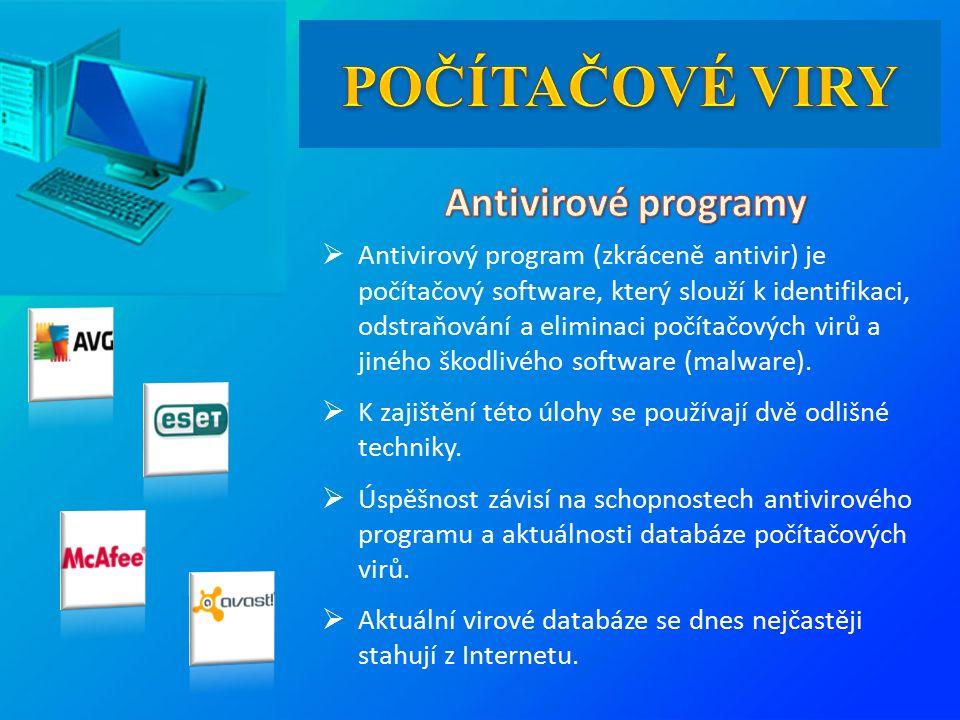  Antivirový program (zkráceně antivir) je počítačový software, který slouží k identifikaci, odstraňování a eliminaci počítačových virů a jiného škodlivého software (malware).