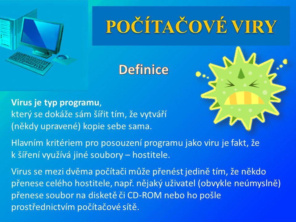 Virus je typ programu, který se dokáže sám šířit tím, že vytváří (někdy upravené) kopie sebe sama.