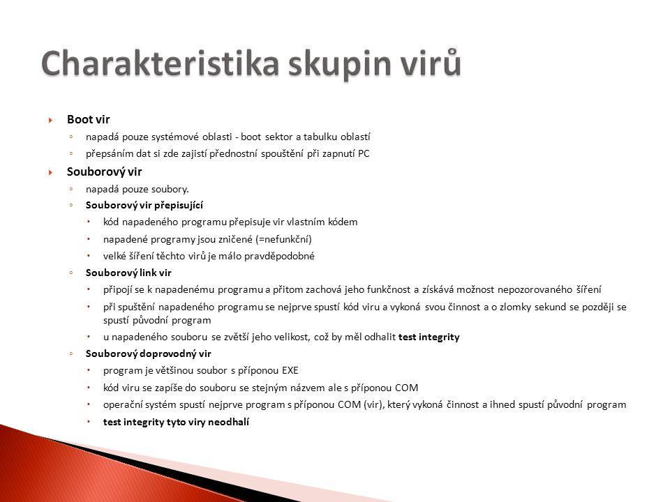  Boot vir ◦ napadá pouze systémové oblasti - boot sektor a tabulku oblastí ◦ přepsáním dat si zde zajistí přednostní spouštění při zapnutí PC  Souborový vir ◦ napadá pouze soubory.