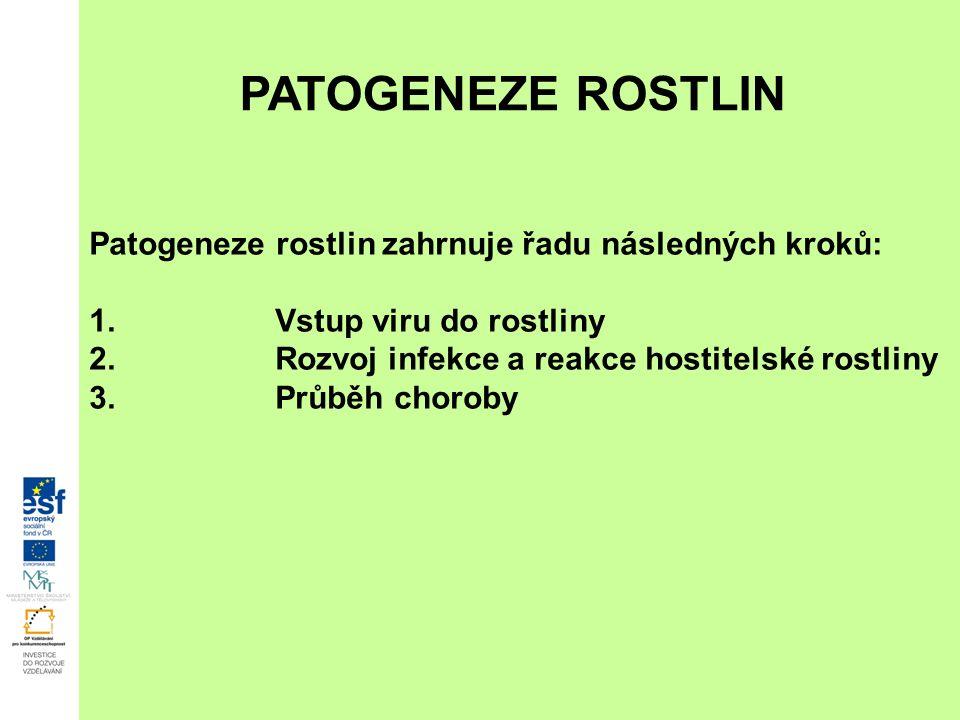 PATOGENEZE ROSTLIN Patogeneze rostlin zahrnuje řadu následných kroků: 1.