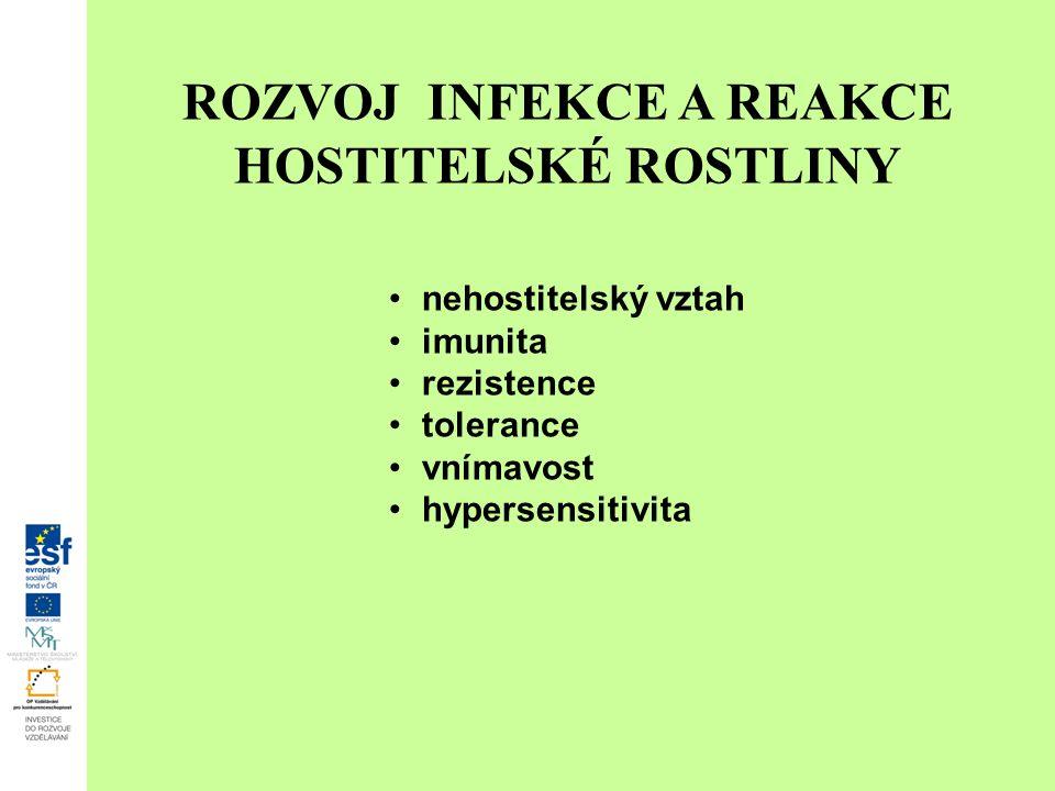 ROZVOJ INFEKCE A REAKCE HOSTITELSKÉ ROSTLINY nehostitelský vztah imunita rezistence tolerance vnímavost hypersensitivita