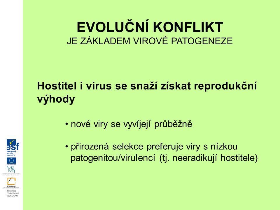 Hostitel i virus se snaží získat reprodukční výhody nové viry se vyvíjejí průběžně přirozená selekce preferuje viry s nízkou patogenitou/virulencí (tj.