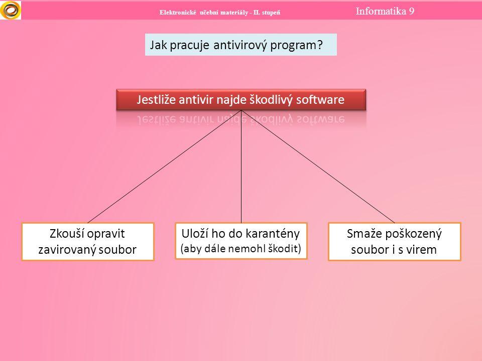 Elektronické učební materiály - II. stupeň Informatika 9 Jak pracuje antivirový program? Zkouší opravit zavirovaný soubor Uloží ho do karantény (aby d