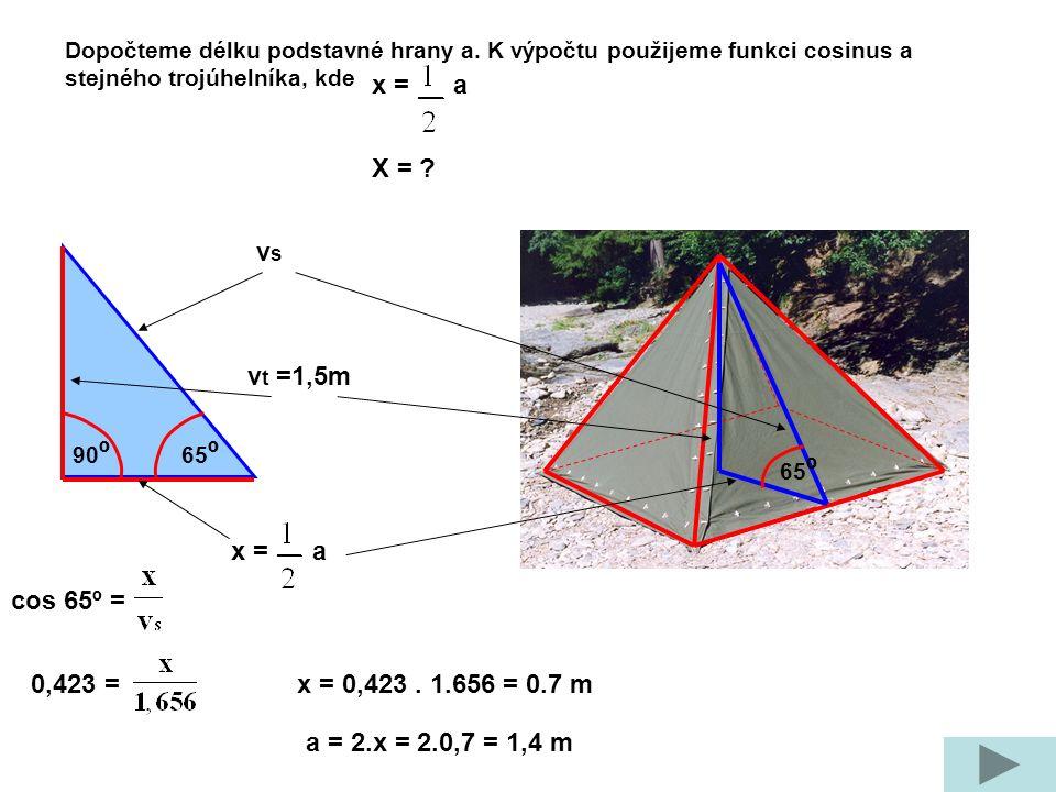 v t =1,5m vsvs 90 º 65 º Dopočteme délku podstavné hrany a.