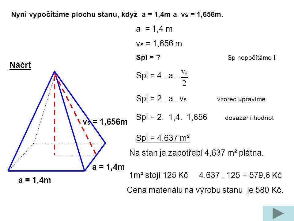 a = 1,4m Náčrt Nyní vypočítáme plochu stanu, když a = 1,4m a v s = 1,656m.
