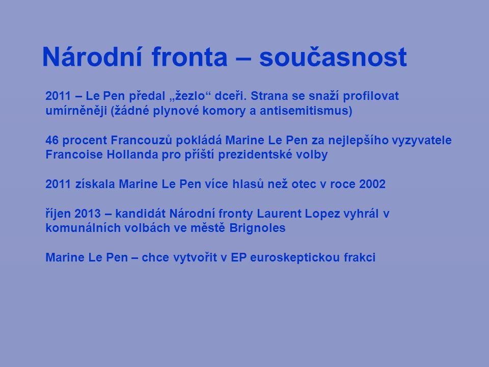 """Národní fronta – současnost 2011 – Le Pen předal """"žezlo dceři."""