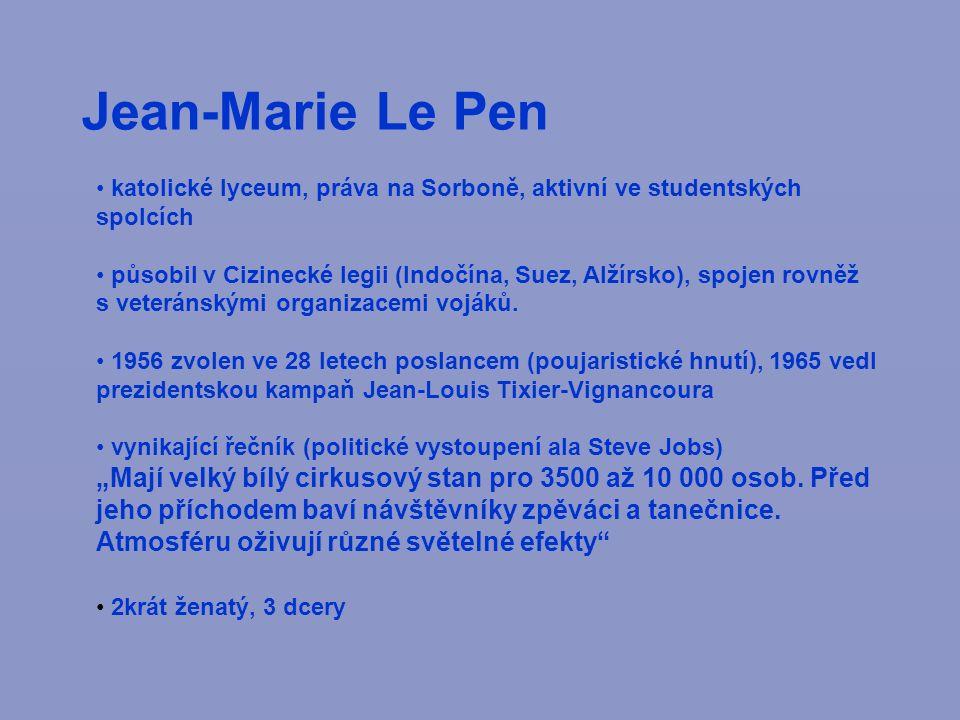 Jean-Marie Le Pen katolické lyceum, práva na Sorboně, aktivní ve studentských spolcích působil v Cizinecké legii (Indočína, Suez, Alžírsko), spojen rovněž s veteránskými organizacemi vojáků.