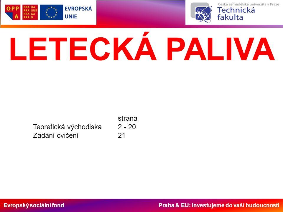 Evropský sociální fond Praha & EU: Investujeme do vaší budoucnosti LETECKÁ PALIVA strana Teoretická východiska2 - 20 Zadání cvičení21