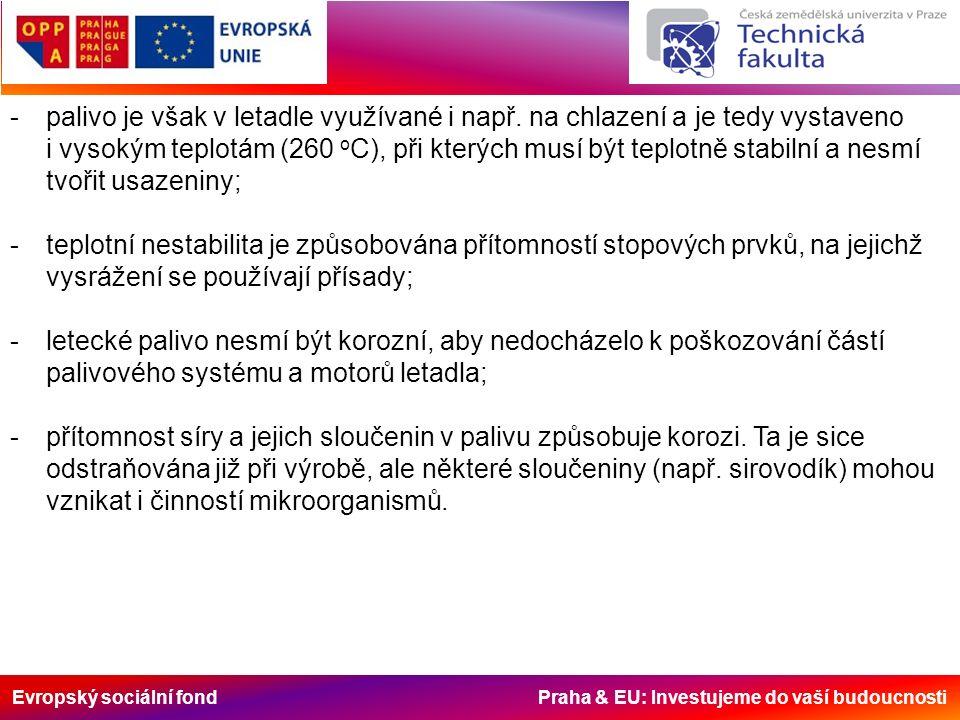 Evropský sociální fond Praha & EU: Investujeme do vaší budoucnosti -palivo je však v letadle využívané i např. na chlazení a je tedy vystaveno i vysok