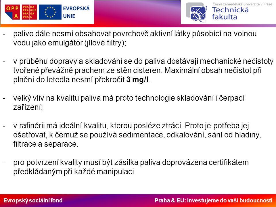 Evropský sociální fond Praha & EU: Investujeme do vaší budoucnosti -palivo dále nesmí obsahovat povrchově aktivní látky působící na volnou vodu jako emulgátor (jílové filtry); -v průběhu dopravy a skladování se do paliva dostávají mechanické nečistoty tvořené převážně prachem ze stěn cisteren.