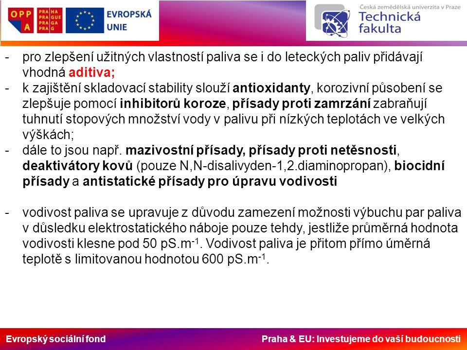 Evropský sociální fond Praha & EU: Investujeme do vaší budoucnosti -pro zlepšení užitných vlastností paliva se i do leteckých paliv přidávají vhodná aditiva; -k zajištění skladovací stability slouží antioxidanty, korozivní působení se zlepšuje pomocí inhibitorů koroze, přísady proti zamrzání zabraňují tuhnutí stopových množství vody v palivu při nízkých teplotách ve velkých výškách; -dále to jsou např.