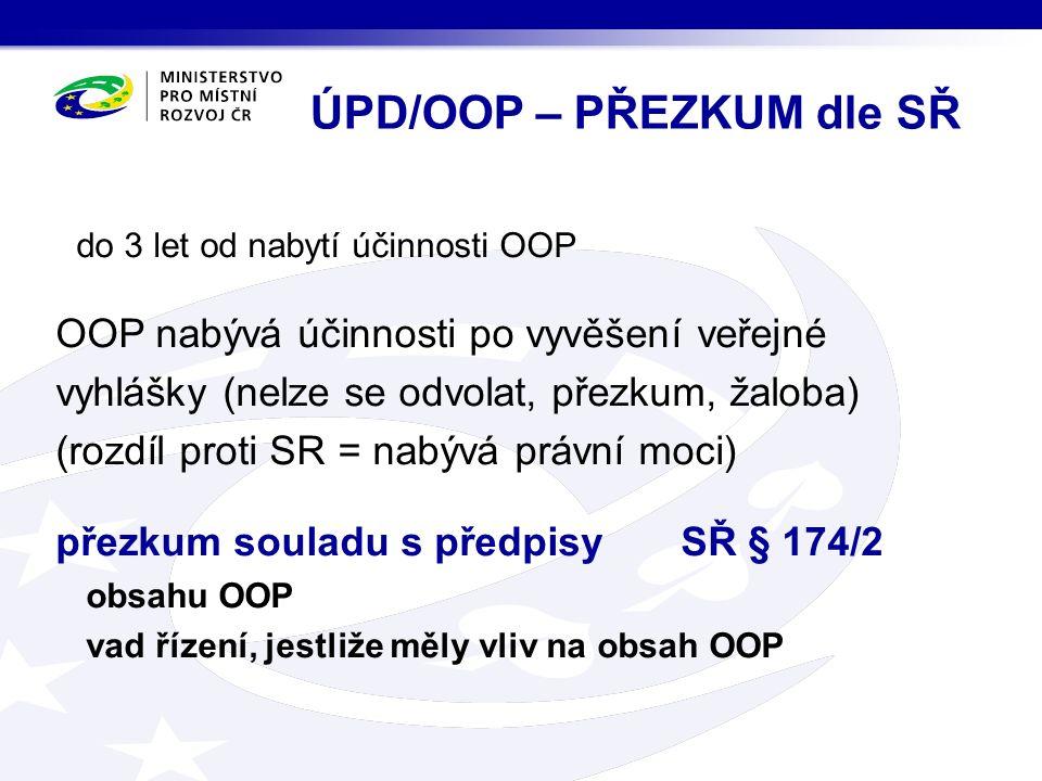 do 3 let od nabytí účinnosti OOP OOP nabývá účinnosti po vyvěšení veřejné vyhlášky (nelze se odvolat, přezkum, žaloba) (rozdíl proti SR = nabývá právní moci) přezkum souladu s předpisy SŘ § 174/2 obsahu OOP vad řízení, jestliže měly vliv na obsah OOP ÚPD/OOP – PŘEZKUM dle SŘ
