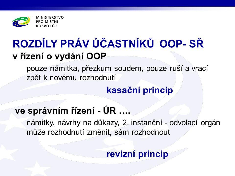 v řízení o vydání OOP pouze námitka, přezkum soudem, pouze ruší a vrací zpět k novému rozhodnutí kasační princip ve správním řízení - ÚR ….