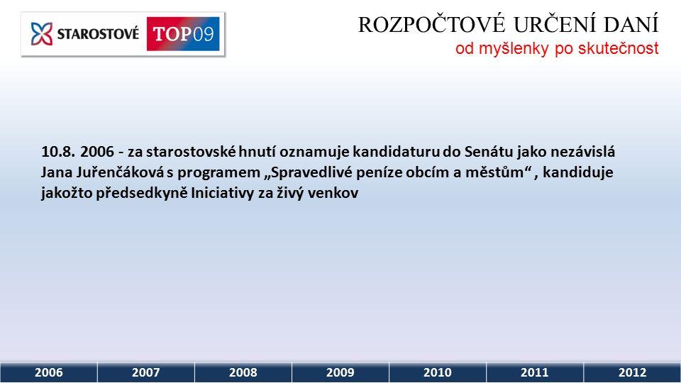 2006200720082009201020112012 ROZPOČTOVÉ URČENÍ DANÍ od myšlenky po skutečnost 10.8.