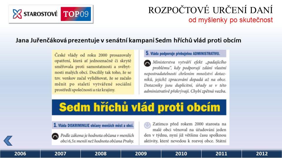 2006200720082009201020112012 ROZPOČTOVÉ URČENÍ DANÍ od myšlenky po skutečnost Jana Juřenčáková prezentuje v senátní kampani Sedm hříchů vlád proti obcím