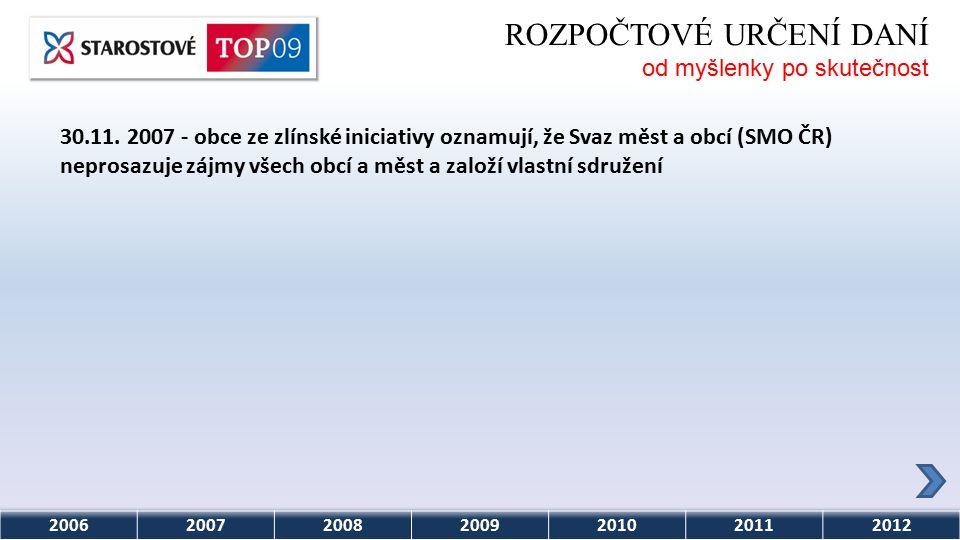 2006200720082009201020112012 ROZPOČTOVÉ URČENÍ DANÍ od myšlenky po skutečnost 30.11.