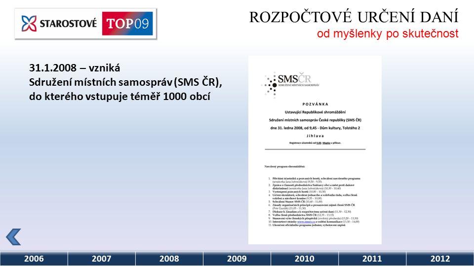 2006200720082009201020112012 ROZPOČTOVÉ URČENÍ DANÍ od myšlenky po skutečnost 31.1.2008 – vzniká Sdružení místních samospráv (SMS ČR), do kterého vstupuje téměř 1000 obcí