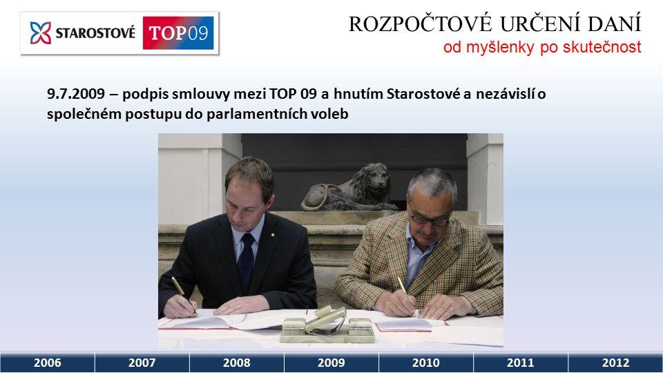 2006200720082009201020112012 ROZPOČTOVÉ URČENÍ DANÍ od myšlenky po skutečnost 9.7.2009 – podpis smlouvy mezi TOP 09 a hnutím Starostové a nezávislí o společném postupu do parlamentních voleb