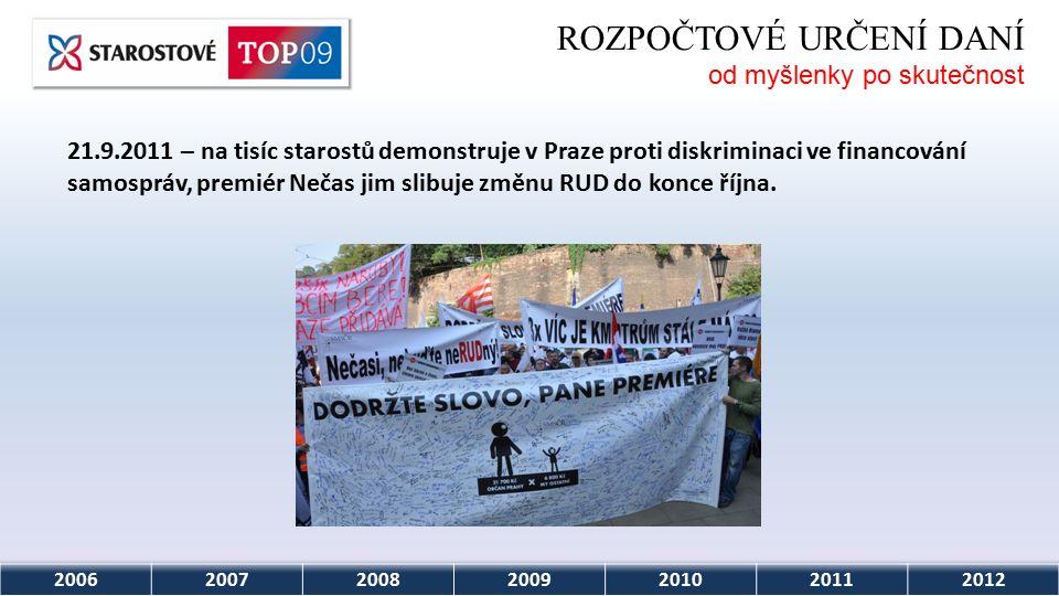 2006200720082009201020112012 ROZPOČTOVÉ URČENÍ DANÍ od myšlenky po skutečnost 21.9.2011 – na tisíc starostů demonstruje v Praze proti diskriminaci ve financování samospráv, premiér Nečas jim slibuje změnu RUD do konce října.