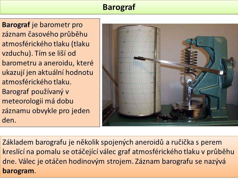 Barograf Barograf je barometr pro záznam časového průběhu atmosférického tlaku (tlaku vzduchu). Tím se liší od barometru a aneroidu, které ukazují jen