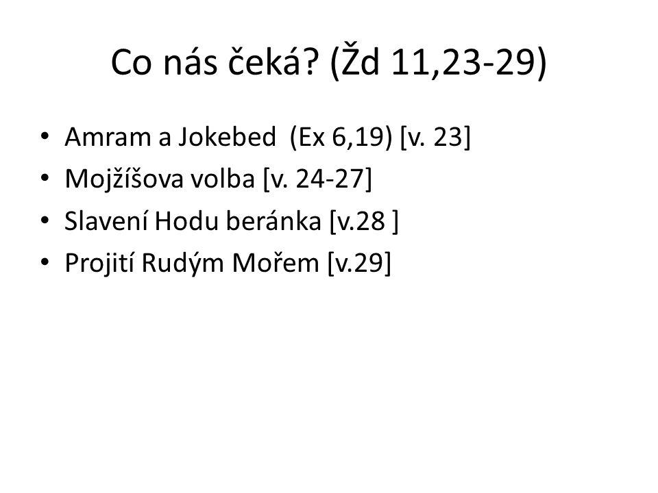 Co nás čeká? (Žd 11,23-29) Amram a Jokebed (Ex 6,19) [v. 23] Mojžíšova volba [v. 24-27] Slavení Hodu beránka [v.28 ] Projití Rudým Mořem [v.29]