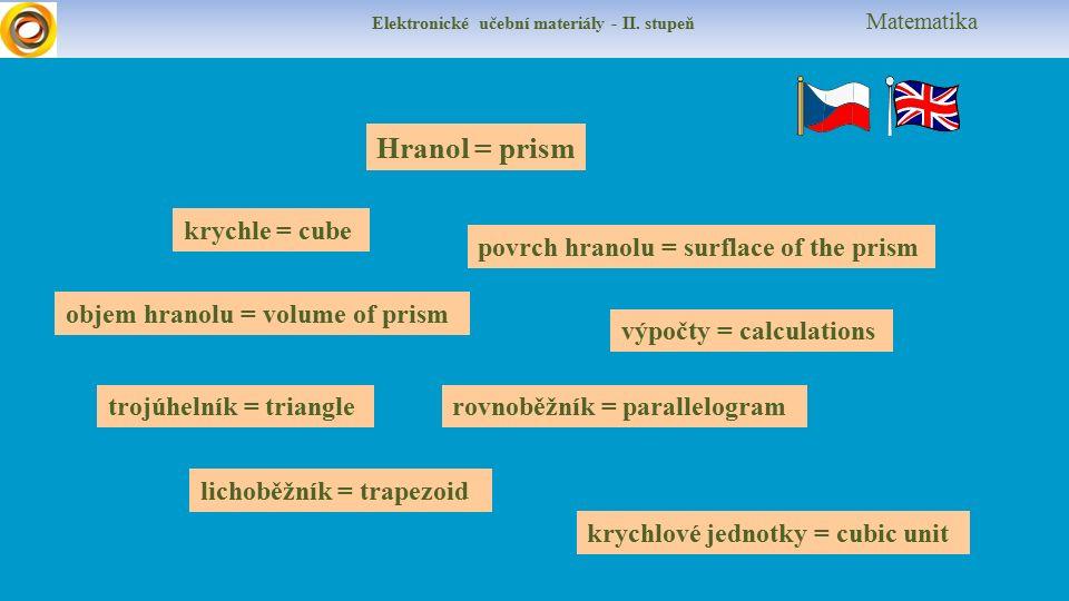 Elektronické učební materiály - II. stupeň Matematika Hranol = prism krychle = cube výpočty = calculations rovnoběžník = parallelogram lichoběžník = t