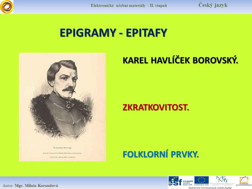 EPIGRAMY - EPITAFY Elektronické učební materiály - II.
