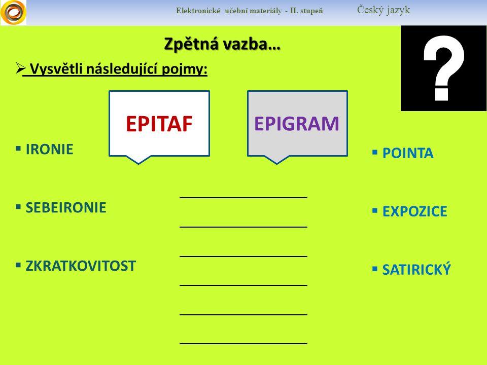Elektronické učební materiály - II.stupeň Český jazyk HOFFMANNOVÁ, Jana, HOFFMANN, Bohuslav.