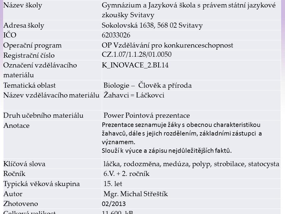Gymnázium a Jazyková škola s právem státní jazykové zkoušky Svitavy Žahavci = láčkovci (Cnidaria) 1 Ž 1