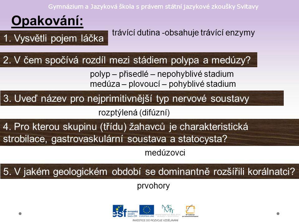 Gymnázium a Jazyková škola s právem státní jazykové zkoušky Svitavy Opakování: 1.
