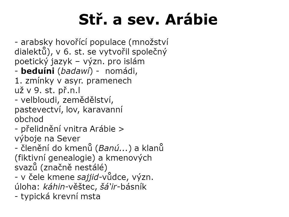 Stř. a sev. Arábie - arabsky hovořící populace (množství dialektů), v 6.