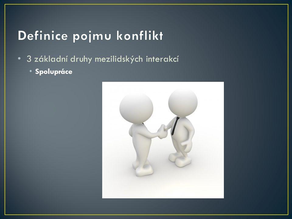 3 základní druhy mezilidských interakcí Spolupráce