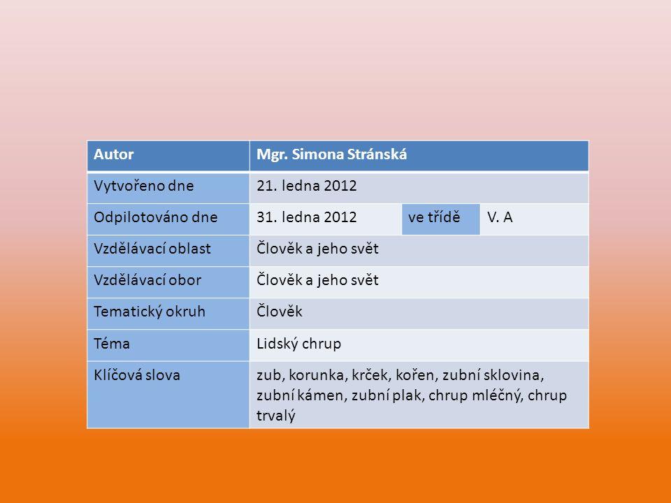 AutorMgr. Simona Stránská Vytvořeno dne21. ledna 2012 Odpilotováno dne31. ledna 2012ve tříděV. A Vzdělávací oblastČlověk a jeho svět Vzdělávací oborČl