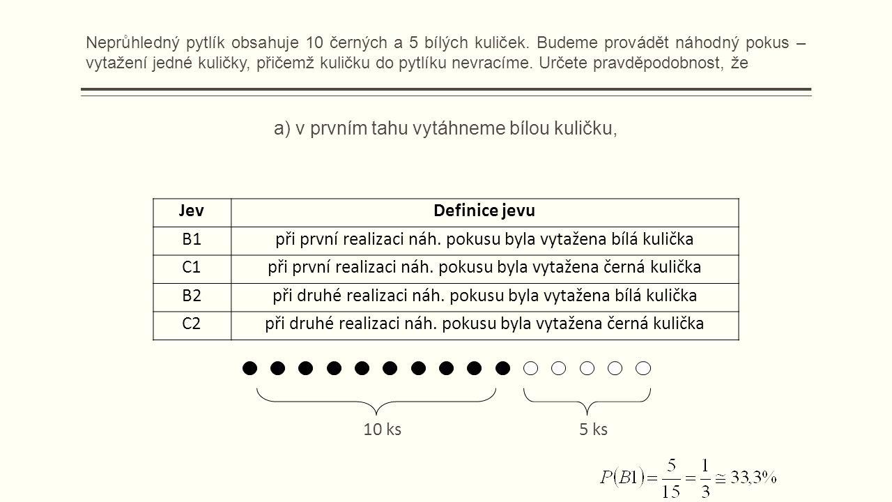 a) v prvním tahu vytáhneme bílou kuličku, JevDefinice jevu B1při první realizaci náh.