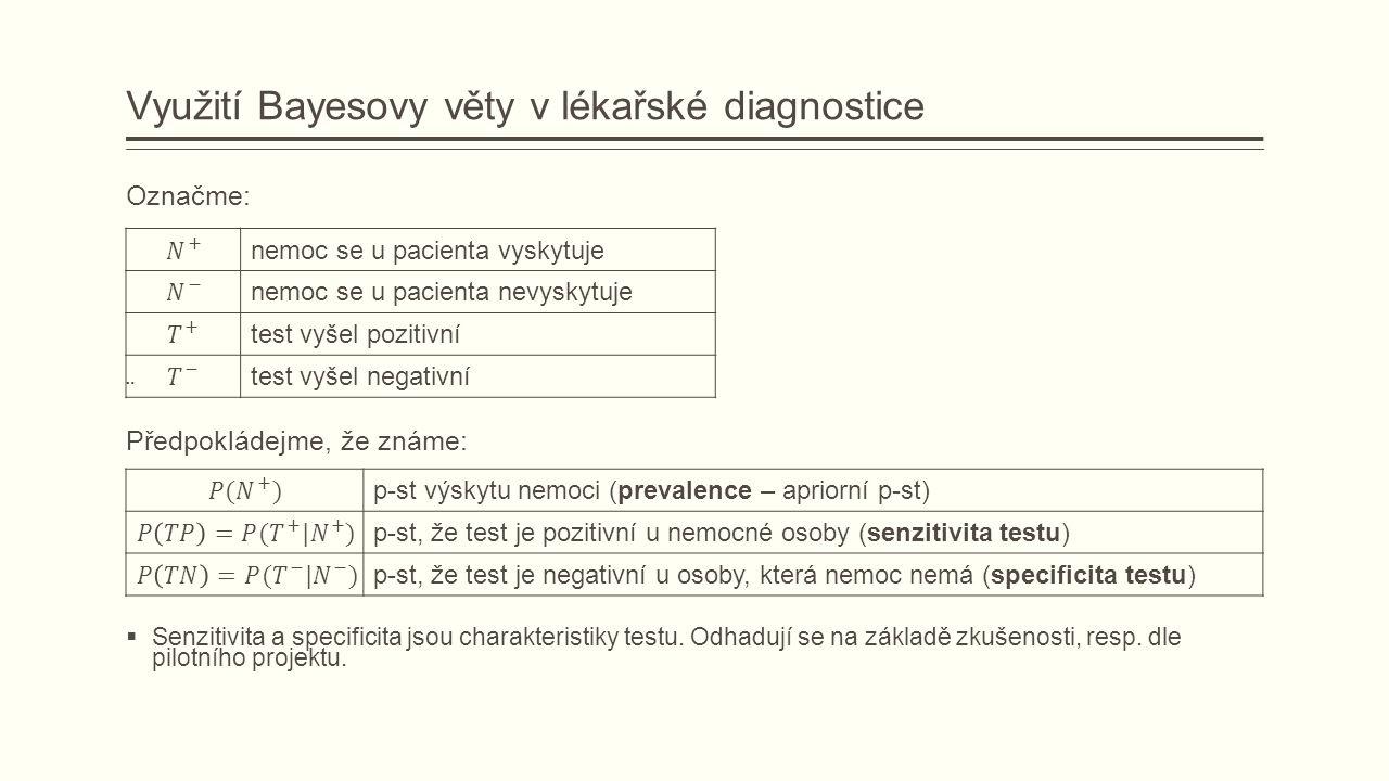 Využití Bayesovy věty v lékařské diagnostice Označme: ¨ Předpokládejme, že známe:  Senzitivita a specificita jsou charakteristiky testu.