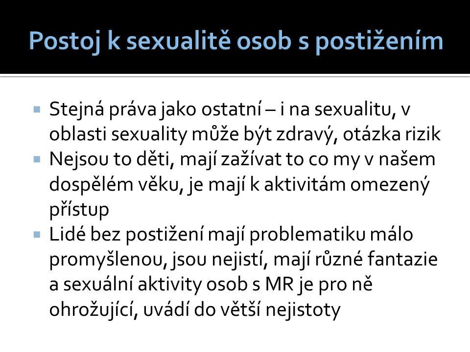  Stejná práva jako ostatní – i na sexualitu, v oblasti sexuality může být zdravý, otázka rizik  Nejsou to děti, mají zažívat to co my v našem dospělém věku, je mají k aktivitám omezený přístup  Lidé bez postižení mají problematiku málo promyšlenou, jsou nejistí, mají různé fantazie a sexuální aktivity osob s MR je pro ně ohrožující, uvádí do větší nejistoty