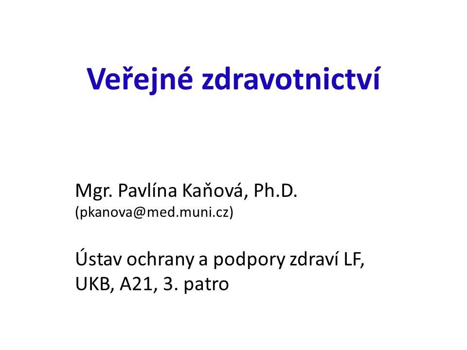 Veřejné zdravotnictví Mgr. Pavlína Kaňová, Ph.D.
