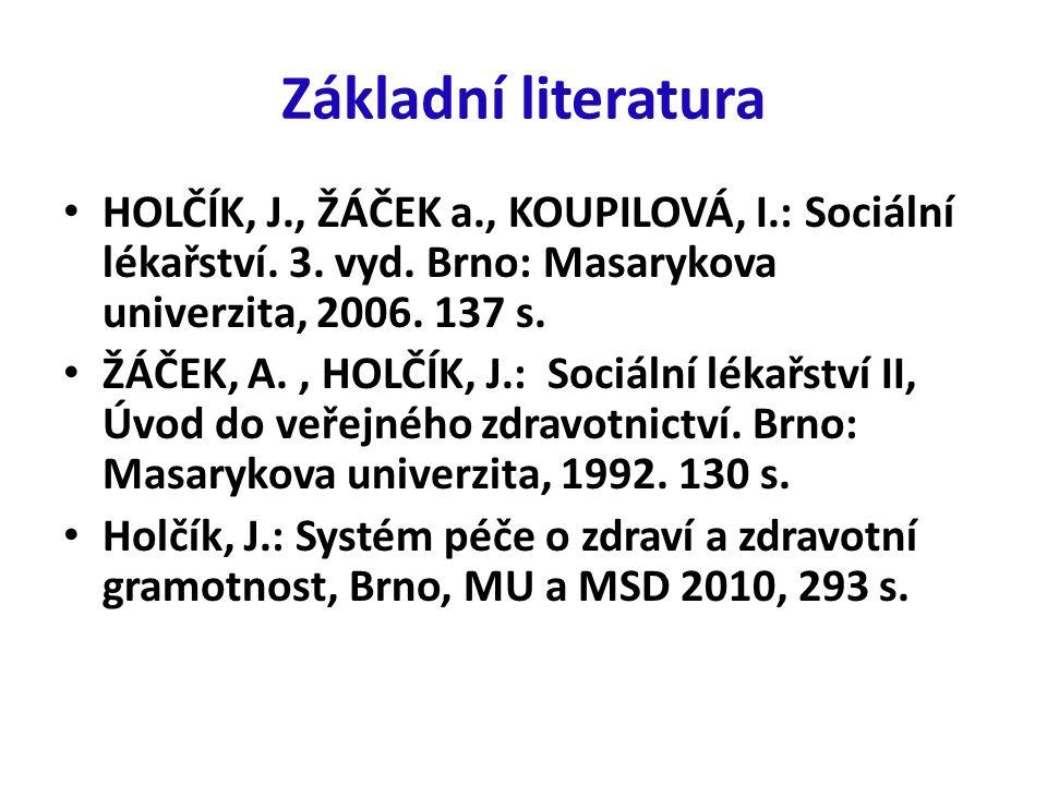 Základní literatura HOLČÍK, J., ŽÁČEK a., KOUPILOVÁ, I.: Sociální lékařství.