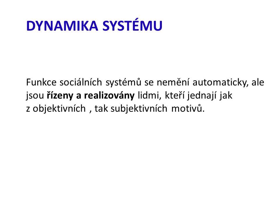 DYNAMIKA SYSTÉMU Funkce sociálních systémů se nemění automaticky, ale jsou řízeny a realizovány lidmi, kteří jednají jak z objektivních, tak subjektivních motivů.