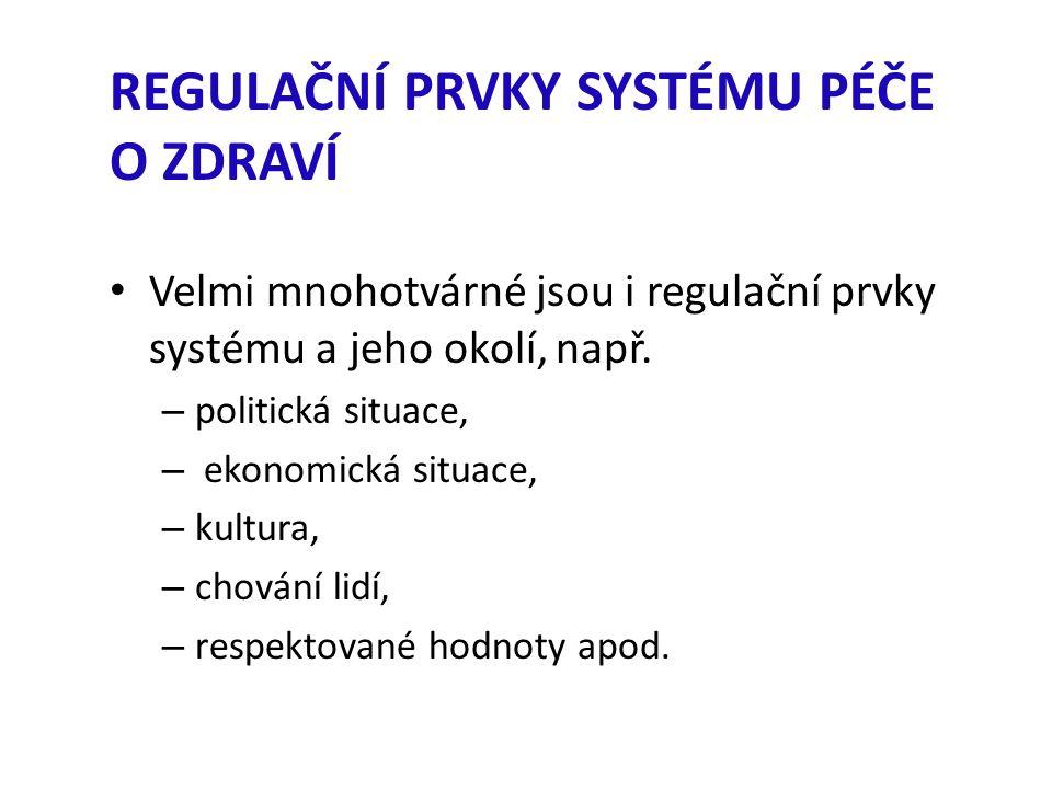 REGULAČNÍ PRVKY SYSTÉMU PÉČE O ZDRAVÍ Velmi mnohotvárné jsou i regulační prvky systému a jeho okolí, např.