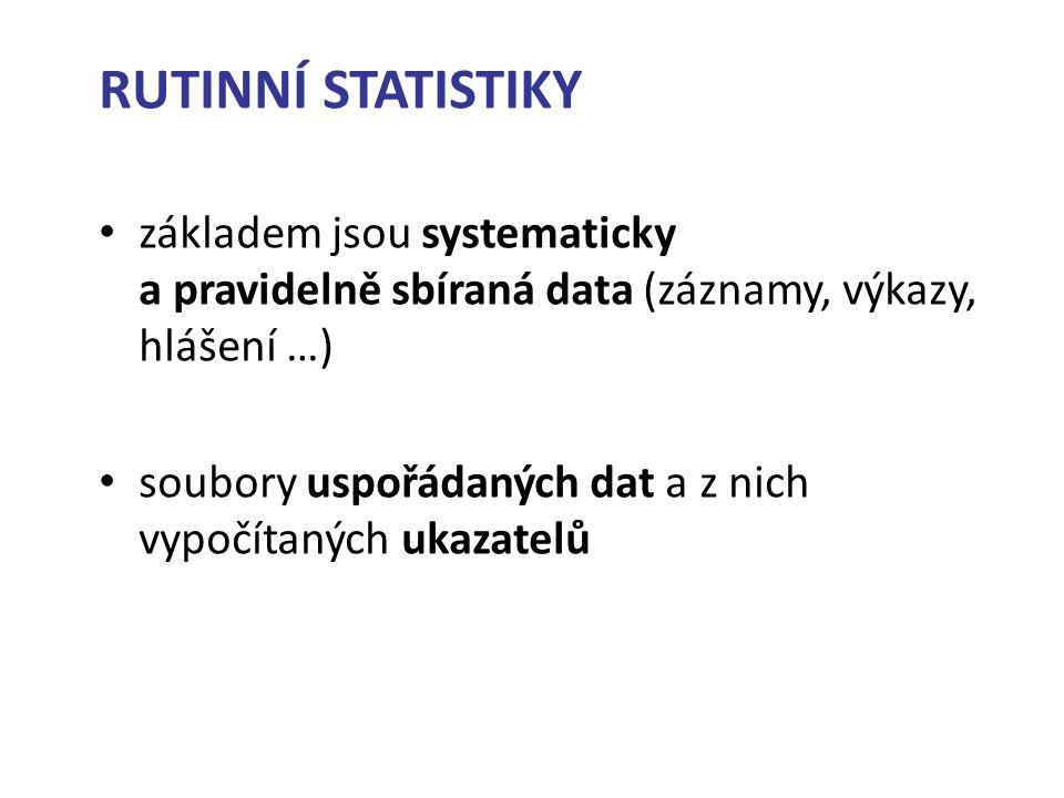 RUTINNÍ STATISTIKY základem jsou systematicky a pravidelně sbíraná data (záznamy, výkazy, hlášení …) soubory uspořádaných dat a z nich vypočítaných ukazatelů