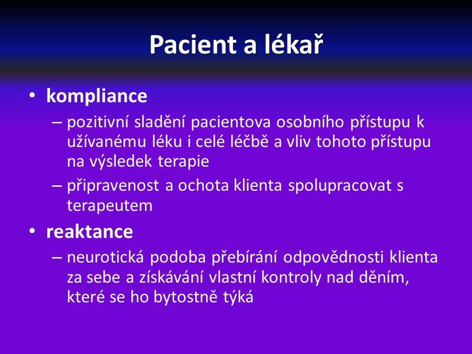 Pacient a lékař kompliance – pozitivní sladění pacientova osobního přístupu k užívanému léku i celé léčbě a vliv tohoto přístupu na výsledek terapie – připravenost a ochota klienta spolupracovat s terapeutem reaktance – neurotická podoba přebírání odpovědnosti klienta za sebe a získávání vlastní kontroly nad děním, které se ho bytostně týká
