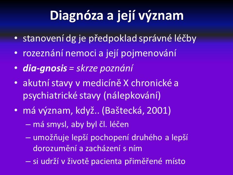 Diagnóza a její význam nelze dělat terapii bez dg nutnost druhého co nejlépe poznat, porozumět, něco si o něm myslet a domnívat, sobě i jemu to sdělovat srozumitelnými pojmy perignóza – poznání souvislostí, ve kterých se nemoc diagnostikuje diferenciální dg – postup, kterým se lékař rozhoduje, do které nozologické jednotky jím zjištěný klinický obraz spadá